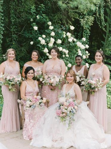 Ashley + Bridesmaids Dressed + Seated